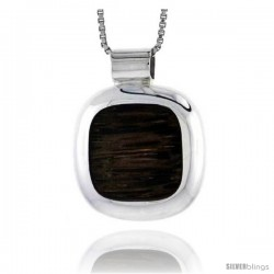 """Sterling Silver Cushion-shaped Slider Pendant, w/ Ancient Wood Inlay, 3/4"""" (20 mm) tall, w/ 18"""" Thin Snake Chain"""