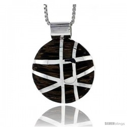 "Sterling Silver Round Slider Pendant, w/ Ancient Wood Inlay, 13/16"" (20 mm) tall, w/ 18"" Thin Snake Chain"
