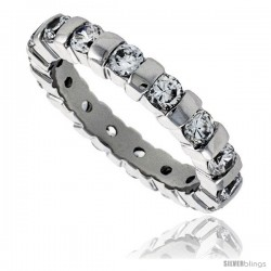 Sterling Silver Cubic Zirconia Eternity Band Ring Brilliant Cut 3mm Rhodium finish