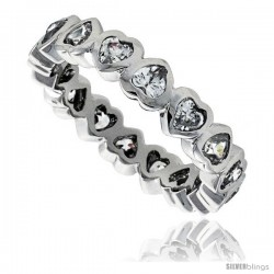 Sterling Silver Cubic Zirconia Eternity Band Ring Heart-shaped 3x3mm Rhodium finish