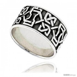 Sterling Silver Dara Celtic Knot Band Thumb Ring 7/16 in wide