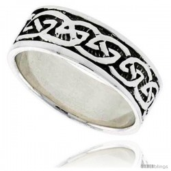 Sterling Silver Celtic Knot Wedding Band Thumb Ring, 5/16 in wide