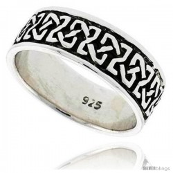 Sterling Silver Celtic Knot Wedding Band Thumb Ring, 5/16 in wide -Style Tr202