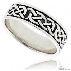 Sterling Silver Celtic Knot Wedding Band Thumb Ring, 14 in wide