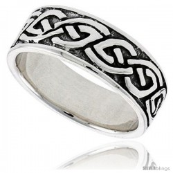 Sterling Silver Celtic Knot Wedding Band Thumb Ring, 5/16 in wide -Style Tr204