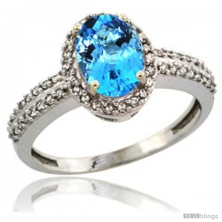 14k White Gold Diamond Halo Swiss Blue Topaz Ring 1.2 ct Oval Stone 8x6 mm, 3/8 in wide