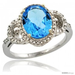 14k White Gold Diamond Halo Swiss Blue Topaz Ring 2.4 ct Oval Stone 10x8 mm, 1/2 in wide