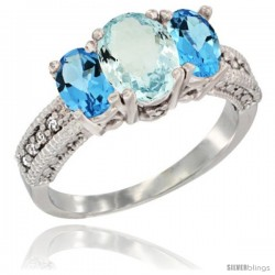 14k White Gold Ladies Oval Natural Aquamarine 3-Stone Ring with Swiss Blue Topaz Sides Diamond Accent