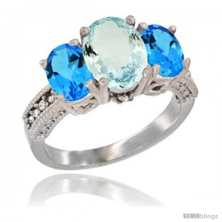 14K White Gold Ladies 3-Stone Oval Natural Aquamarine Ring with Swiss Blue Topaz Sides Diamond Accent