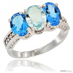 14K White Gold Natural Aquamarine & Swiss Blue Topaz Sides Ring 3-Stone 7x5 mm Oval Diamond Accent