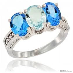 14K White Gold Natural Aquamarine & Swiss Blue Topaz Sides Ring 3-Stone 7x5 mm Oval Diamond Accent