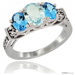 14K White Gold Natural Aquamarine & Swiss Blue Topaz Ring 3-Stone Oval with Diamond Accent