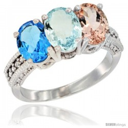 14K White Gold Natural Swiss Blue Topaz, Aquamarine & Morganite Ring 3-Stone 7x5 mm Oval Diamond Accent