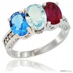 14K White Gold Natural Swiss Blue Topaz, Aquamarine & Ruby Ring 3-Stone 7x5 mm Oval Diamond Accent