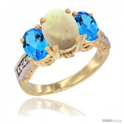 14K Yellow Gold Ladies 3-Stone Oval Natural Opal Ring with Swiss Blue Topaz Sides Diamond Accent