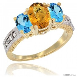 14k Yellow Gold Ladies Oval Natural Whisky Quartz 3-Stone Ring with Swiss Blue Topaz Sides Diamond Accent