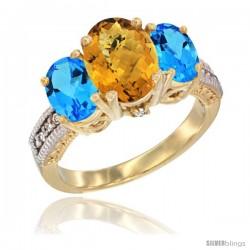 14K Yellow Gold Ladies 3-Stone Oval Natural Whisky Quartz Ring with Swiss Blue Topaz Sides Diamond Accent