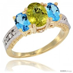 14k Yellow Gold Ladies Oval Natural Lemon Quartz 3-Stone Ring with Swiss Blue Topaz Sides Diamond Accent