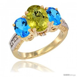 14K Yellow Gold Ladies 3-Stone Oval Natural Lemon Quartz Ring with Swiss Blue Topaz Sides Diamond Accent