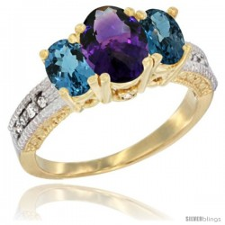 14k Yellow Gold Ladies Oval Natural Amethyst 3-Stone Ring with London Blue Topaz Sides Diamond Accent