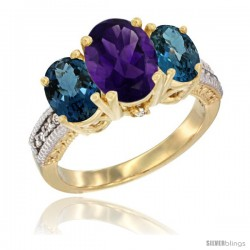 14K Yellow Gold Ladies 3-Stone Oval Natural Amethyst Ring with London Blue Topaz Sides Diamond Accent