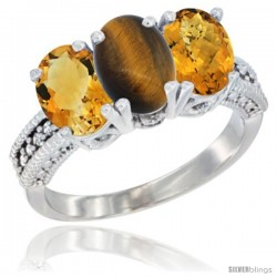14K White Gold Natural Citrine, Tiger Eye & Whisky Quartz Ring 3-Stone 7x5 mm Oval Diamond Accent