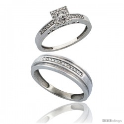 10k White Gold 2-Piece Diamond Ring Set ( Engagement Ring & Man's Wedding Band ), w/ 0.25 Carat Brilliant Cut Diamonds, ( 2.
