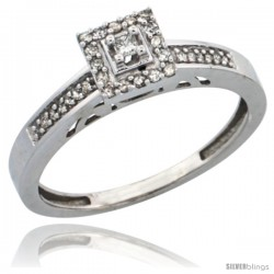 10k White Gold Diamond Engagement Ring, w/ 0.19 Carat Brilliant Cut Diamonds, 3/32 in. (2.5mm) wide