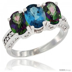 10K White Gold Natural London Blue Topaz & Mystic Topaz Sides Ring 3-Stone Oval 7x5 mm Diamond Accent