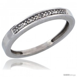 10k White Gold Ladies' Diamond Band, w/ 0.08 Carat Brilliant Cut Diamonds, 3/32 in. (2.5mm) wide