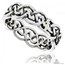 Sterling Silver Celtic Knot Flat Wedding Band / Thumb Ring, 1/4 in wide