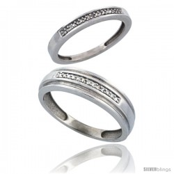 10k White Gold 2-Piece His (6mm) & Hers (2.5mm) Diamond Wedding Band Set, w/ 0.10 Carat Brilliant Cut Diamonds