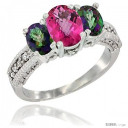 10K White Gold Ladies Oval Natural Pink Topaz 3-Stone Ring with Mystic Topaz Sides Diamond Accent