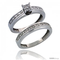 10k White Gold 2-Piece Diamond Engagement Ring Set, w/ 0.21 Carat Brilliant Cut Diamonds, 5/32 in. (4mm) wide