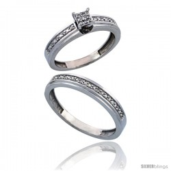 10k White Gold 2-Piece Diamond Ring Set ( Engagement Ring & Man's Wedding Band ), w/ 0.21 Carat Brilliant Cut Diamonds, ( 4mm