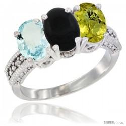 14K White Gold Natural Aquamarine, Black Onyx & Lemon Quartz Ring 3-Stone Oval 7x5 mm Diamond Accent