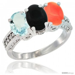 14K White Gold Natural Aquamarine, Black Onyx & Coral Ring 3-Stone Oval 7x5 mm Diamond Accent