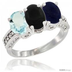 14K White Gold Natural Aquamarine, Black Onyx & Lapis Ring 3-Stone Oval 7x5 mm Diamond Accent