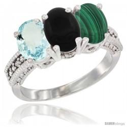 14K White Gold Natural Aquamarine, Black Onyx & Malachite Ring 3-Stone Oval 7x5 mm Diamond Accent