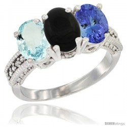 14K White Gold Natural Aquamarine, Black Onyx & Tanzanite Ring 3-Stone Oval 7x5 mm Diamond Accent