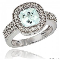 14k White Gold Ladies Natural Aquamarine Ring Cushion-cut 3.5 ct. 8x8 Stone Diamond Accent