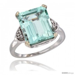 14k White Gold Ladies Natural Aquamarine Ring Emerald-shape 12x10 Stone Diamond Accent