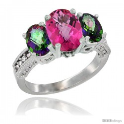 10K White Gold Ladies Natural Pink Topaz Oval 3 Stone Ring with Mystic Topaz Sides Diamond Accent