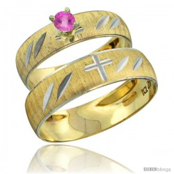 10k Gold 2-Piece 0.25 Carat Pink Sapphire Ring Set (Engagement Ring & Man's Wedding Band) Diamond-cut Pattern -Style 10y504em