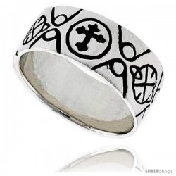 Sterling Silver Celtic Cross Fleury Flat Band, 3/8 in wide