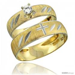 10k Gold 2-Piece 0.25 Carat White Sapphire Ring Set (Engagement Ring & Man's Wedding Band) Diamond-cut Pattern -Style 10y504em