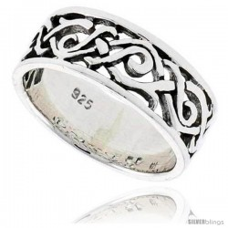 Sterling Silver Celtic Swirl Braid Flat Band, 5/16 in wide