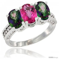 10K White Gold Natural Pink Topaz & Mystic Topaz Sides Ring 3-Stone Oval 7x5 mm Diamond Accent