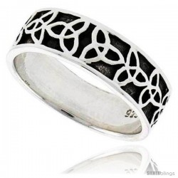 Sterling Silver Celtic Wedding Band Thumb Ring Triquetra Trinity Pattern, 1/4 in wide