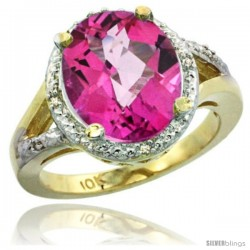 10k Yellow Gold Ladies Natural Pink Topaz Ring oval 12x10 Stone